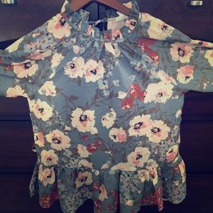 Floral peplum blouse! Small,relaxed fit,never worn